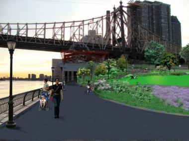 A rendering of what Andrew Haswell Green Park will look like after the renovation.