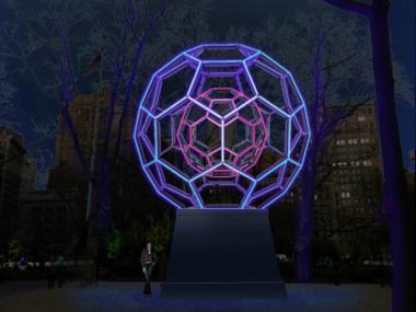 A rendering of BUCKYBALL, which will be on display in Madison Square Park from Oct. 25, 2012 to February of 2013.