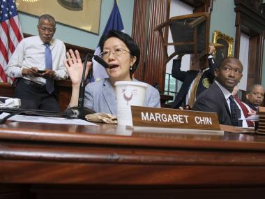 Councilwoman Margaret Chin testifies during NYU's expansion hearing.