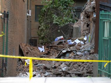 Rubble from the collapsed house at 241 Carroll Street on Monday July 02nd, 2012