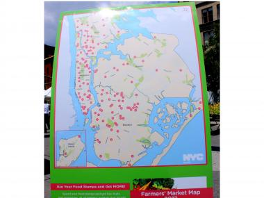 The map of all 138 farmers' markets in Manhattan, Brooklyn, the Bronx, and Queens.