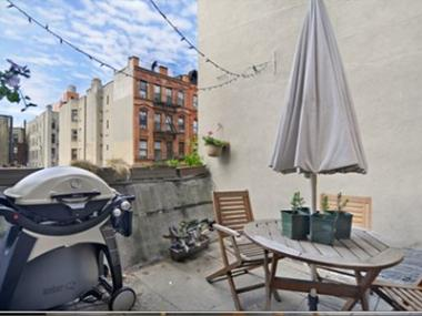 The 100-square-foot outdoor patio at 347 East Fifth St.