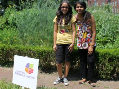 Zaida Ayala (on the right), 21, will start another year as an admissions cashier at the Queens Botanical Garden as part of the City's Summer Youth Employment Program.