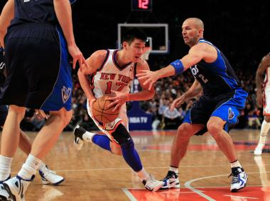 Jeremy Lin #17 of the New York Knicks drives against Jason Kidd #2 of the Dallas Mavericks at Madison Square Garden on February 19, 2012 in New York City.