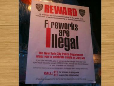 The NYPD offered a $1,000 reward for tips leading to the arrest of someone with illegal fireworks in New York City.