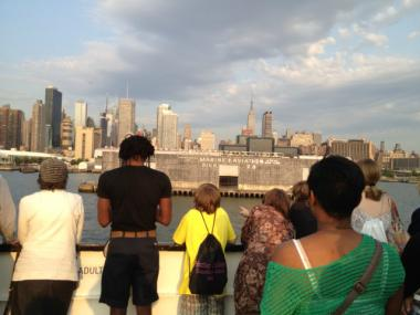 A image from a previous Open House New York boat tour giving passengers a peek at the islands in the harbor.