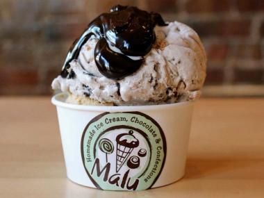 Malu's Marathon Madness Ice Cream with hot fudge