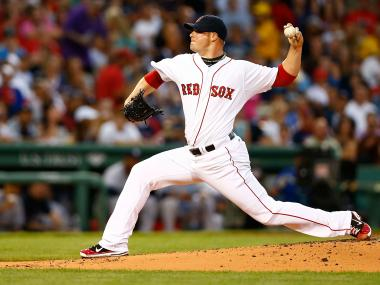 Jon Lester of the Boston Red Sox pitches against the New York Yankees during their game on July 8, 2012 at Fenway Park.