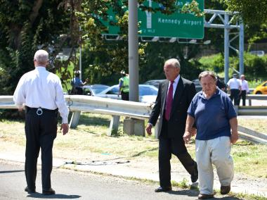 Queens District Attorney Richard Brown at the scene of a fatal accident on the Grand Central Parkway on July 10, 2012.