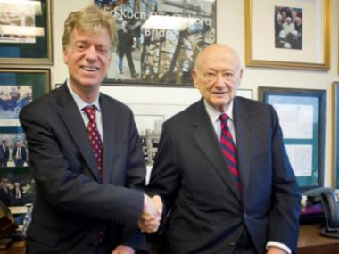 Community Board 6 chairman Mark Thompson with Former Mayor Ed Koch. Koch has endorsed Thompson in his run for the District 4 on New York's City Council.