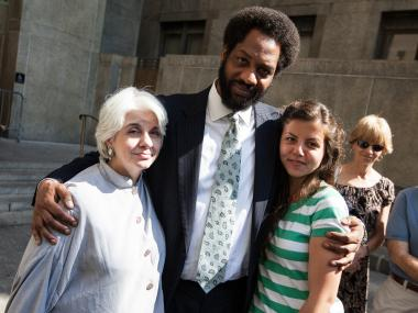 Valerie Kurita, mother of Julian Kurita, with defense lawyer Norman Williams and her daughter outside Manhattan Supreme Court after the judge sentenced Julian to 15 years to life in prison on July 10, 2012.