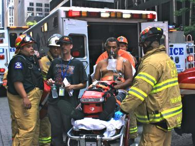 One of two workers who were trapped on hanging scaffolding from 1177 Avenue of the Americas on July 11, 2012.