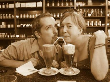 A couple enjoys homemade shakes at Brooklyn Farmacy and Soda Fountain in Cobble Hill.