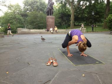 In Open Air Yoga students practice with an instructor in Central Park or Battery Park City.