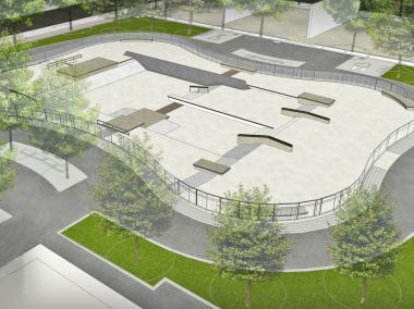 A rendering of the proposed skate park at Planetree Park