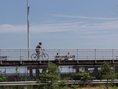 Riders at South Beach can enjoy the two and a half mile Franklin D. Roosevelt Boardwalk.