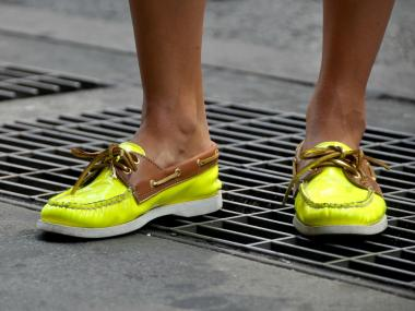 Maren Rundo, 25, wearing lime-green boat shoes with leather embellishments in SoHo.