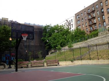 The basketball court at the Half-Nelson Playground in Morris Heights, where an argument allegedly sparked a shooting.