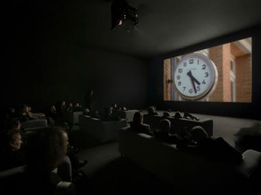"The viewing room for ""The Clock"" at Lincoln Center has room for only 100 viewers at a time."