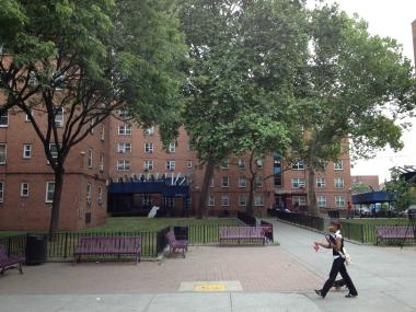 The Red Hook Houses, where a suspect fled after allegedly opening fire at cops, police say.