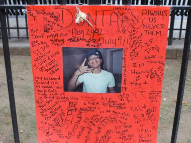 A memorial for 19-year-old Dante Sanders, who was gunned down on Monday.