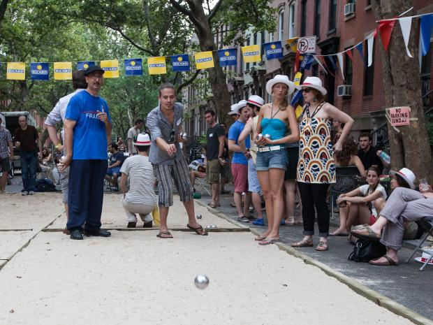 Players enjoy petanque at Bastille Day in Brooklyn on July 15th, 2012.