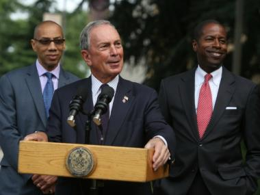 Mayor Bloomberg speaks at the Greater Allen A.M.E. Cathedral of New York..