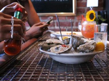 A plate of oysters being served at Cornelius.