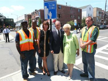 Mayor Michael Bloomberg announces new neighborhood slow zones at a press conference in Corona, Queens.