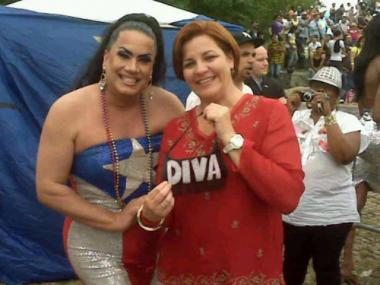 Appolonia Cruz (l) with City Council Speaker Christine Quinn at the 2010 Bronx Pride event. Cruz, who will host this year's festival, is one of a handful of volunteers who decided to salvage the event.