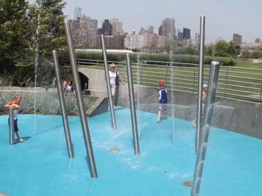 The new state-of-the-art sprinkler system for children has opened in Hunters Point.