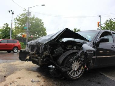 The livery cab was hit when the FDNY truck came through the intersection off the FDR drive.