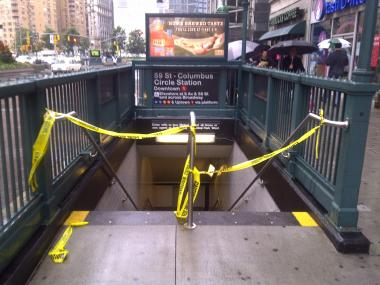 A person was struck by a Downtown 1 train at Columbus CIrcle July 20, 2012.