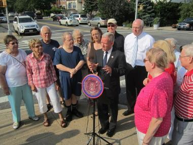 "On July 23rd, Council Member Jimmy Van Bramer and Congressman Joe Crowley joined community leaders and local residents to call on officials to enforce the ""No Truck Route"" along 65th Place in Woodside."