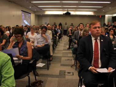 Councilman Dan Halloran, right, and the crowd at the public hearings on the proposed soda ban on July 24, 2012.
