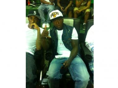 Entertainers Basketball Classic posted this photo of former New York Knicks star Nate Robinson, who was in the stands when shots rang out during Wednesday night's game in Rucker Park July 25, 2012. Robinson escaped unscathed.