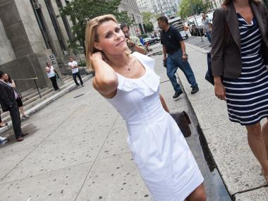 Genevieve Sabourin, 40, the alleged stalker of actor Alec Baldwin, leaves Manhattan Supreme Court on July 26, 2012.