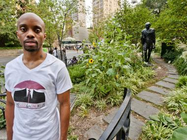 Yusef Ramelize, 35, in Union Square Park, where lived for a week in 2009 and 2010 as part of a homeless awareness project.