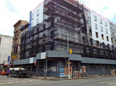 A construction worker fell from a scaffold at 95 Henry Street on the Lower East Side on August 1, 2012.