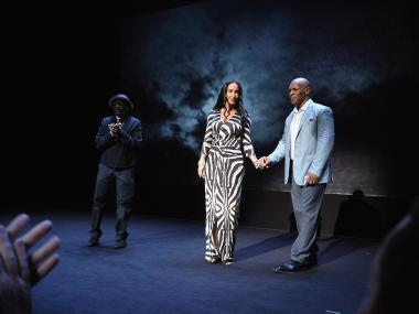 "Director Spike Lee, Lakiha Spicer and her husband, Mike Tyson, take a curtain call following the debut of Tyson's one-man play, ""Undisputed Truth."""