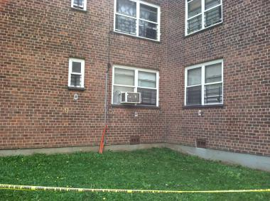 Edenwald Houses, where a 3-month-old baby survived a plunge from a second-floor window of an apartment on August 7, 2012.