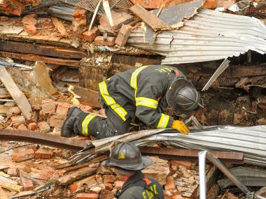 A portion of a building collapsed at Wythe Avenue and South 9th Street in Williamsburg on August 8, 2012.