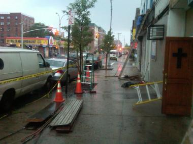 A man fell while working on an awning in East New York