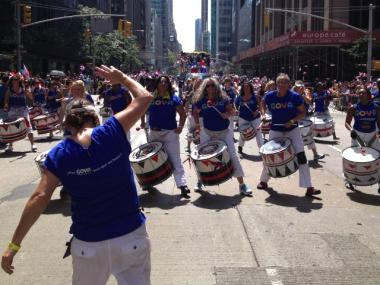 The crowd roared for the Goya drum line at the 2012 Dominican Day parade, Aug. 12, 2012.