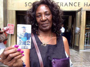 Paula Shaw-Leary, the mother of slain 21-year-old Matt Shaw leaves Manhattan Criminal Court on August 14th, 2012, after her son's alleged killer, Khalid Rahman, 20, was charged with murder.