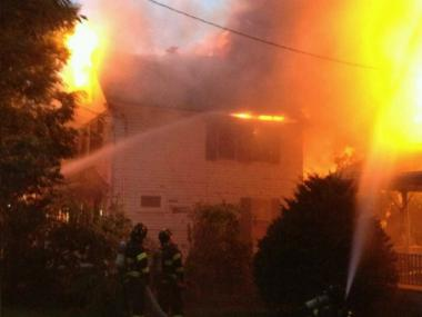 The fire at 39-12 Douglaston Parkway Aug. 14, 2012.