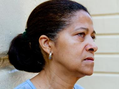 Beatrice Lopez, 61, of Washington Heights, who witnessed a man in her building suffer severe injuries in an elevator accident Aug. 16, 2012.