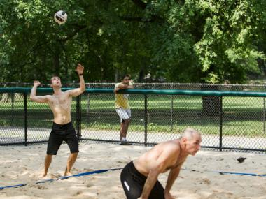 Several people enjoyed a recent game of beach volleyball inside Central Park. The park has numerous amenities that are free of charge.