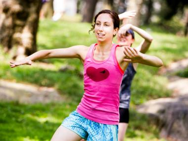 Exercise classes are often held in Central Park during the warmer months.
