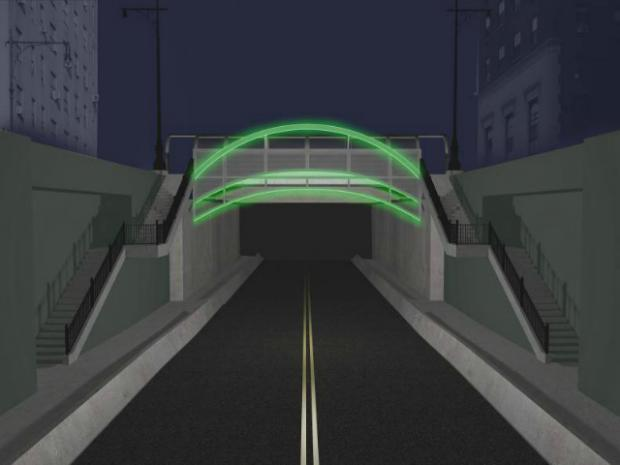 In the coming months, the gray slabs of concrete that line the entrances to the 161 st  Street underpass below the Grand Concourse will be sheathed in steel and illuminated with colored lights as part of an art installation more than a decade in the making.